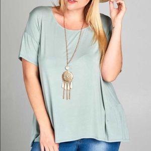 Plus Size Short Sleeve Jersey Knit Top Blue Sage